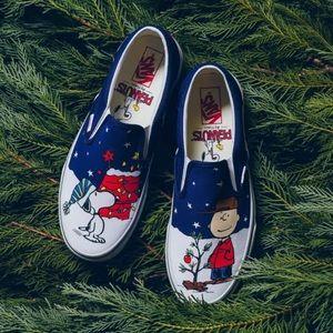 Vans x Charlie Brown Christmas Youth Sz 4 Slip On